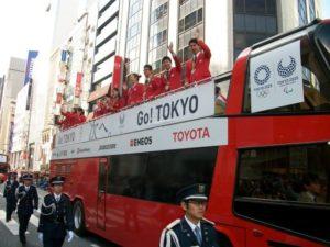 10月7日11時過ぎに銀座から日本橋をパレードしたリオデジャネイロ・オリンピック・パラリンピックメダリストたち。