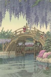 丸善・日本橋店で4月15日から21日まで開催される「川瀬巴水木版画展」に出品される「亀戸の藤」(1932年)。
